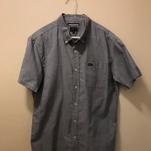 RVCA Short Sleeve Button Down Blue